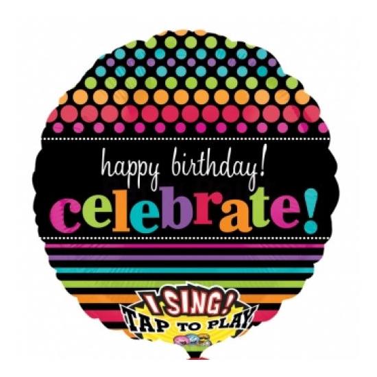 Sing-a-Tune-Zenélő Happy Birthday Celebrate fólia lufi