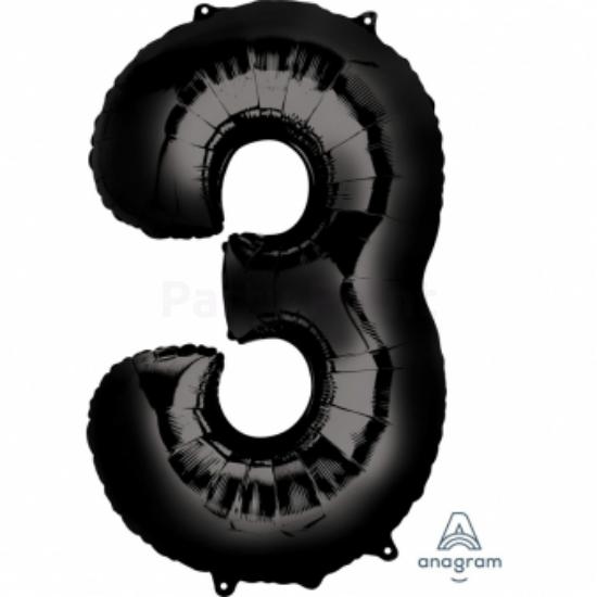 3-as fekete szám fólia lufi 50 x 86 cm, csomagolt