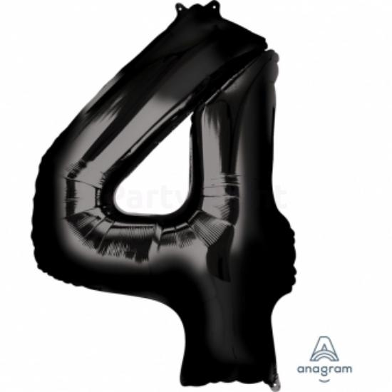 4-es fekete szám fólia lufi 60 x 91 cm, csomagolt