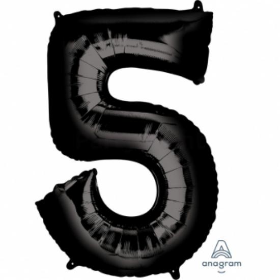 5-ös fekete szám fólia lufi 58 x 83 cm, csomagolt