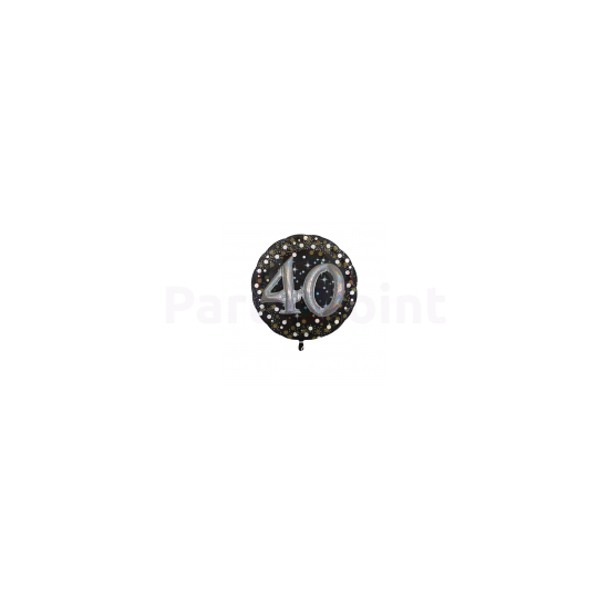 43 cm-es Happy Birthday 40.arany-ezüst  prizmás fólia lufi