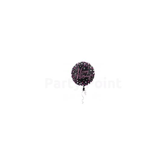 45 cm-es Happy Birthday pink-fekete fólia lufi születésnapra