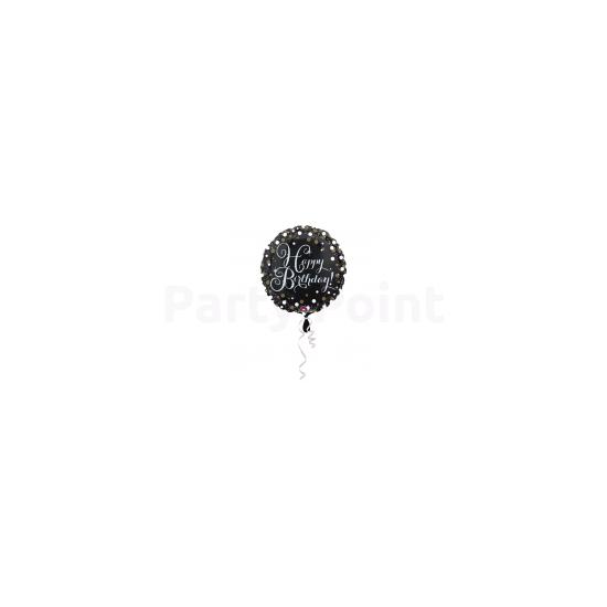 43 cm-es Happy Birthday arany-ezüst  prizmás fólia lufi