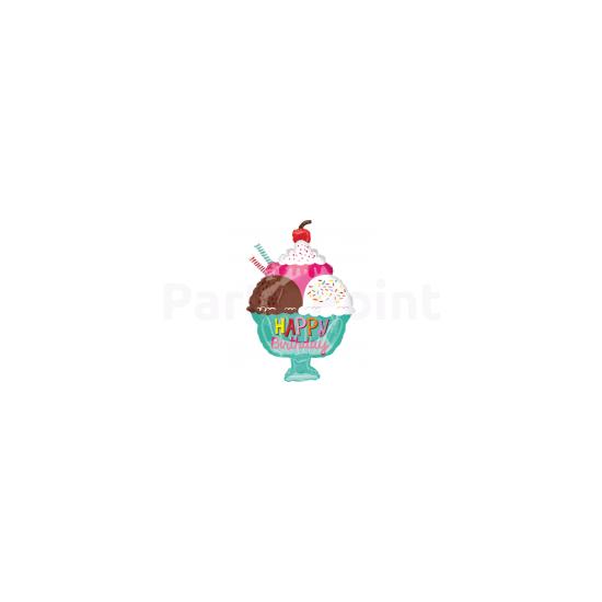 Fagylaltos Happy Birthday fólia lufi JuniorShape38x58cm