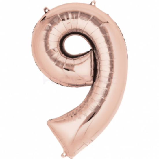 86 cm-es rose gold szám fólia lufi 9