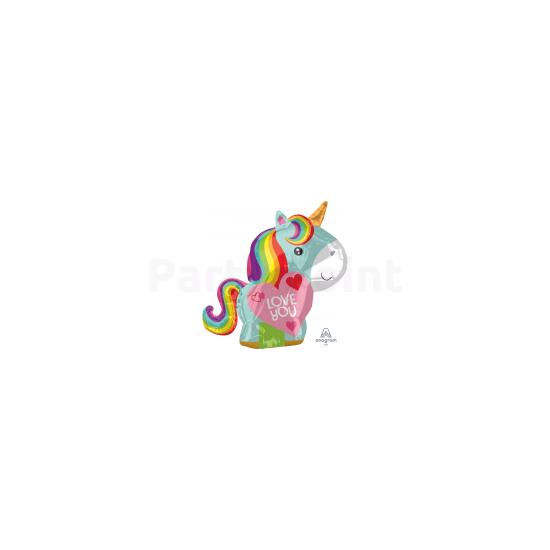 Unikornis love fólia lufi JuniorShape43x53cm