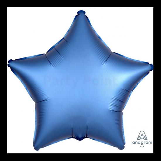 45 cm-es Satin Lux azúrkék csillag fólia lufi