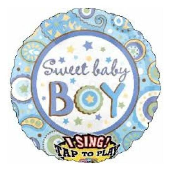 Sing-a-Tune-Zenélő lufi babaszületésre kisfiúnak