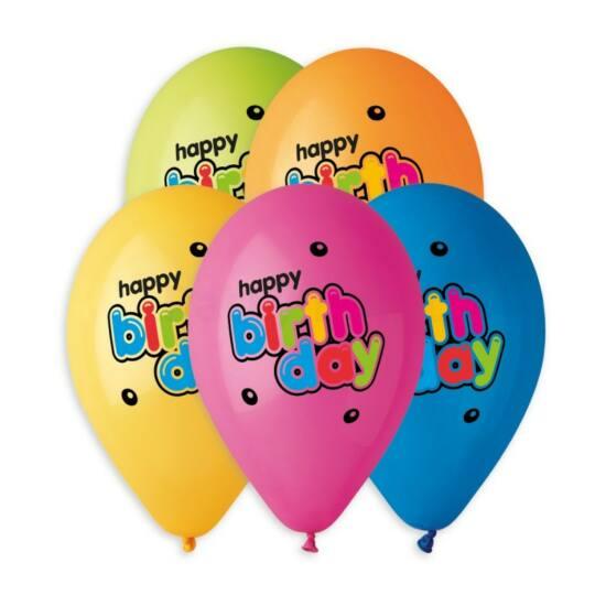33 cm-es Happy Birthday színes betűs vegyes színű printelt gumi léggömb 10db/cs.