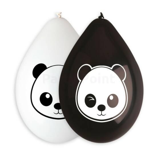26 cm-es My Panda fekete-fehér printelt  lógatható gumi léggömb 10 db/cs.