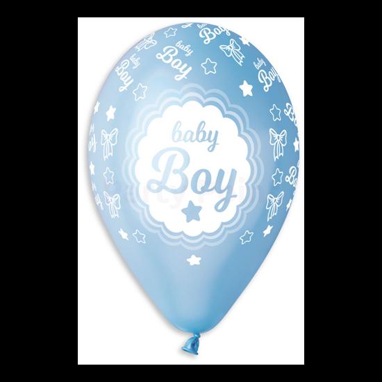 33 cm-es baby boy kék metál printelt lufi 10 db/cs