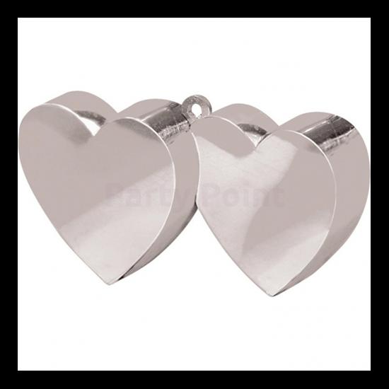 Ezüst színű dupla szív alakú lufisúly