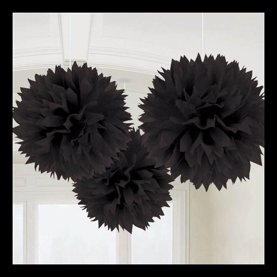 Fekete gömbdekoráció 40,6 cm, 3 db/cs