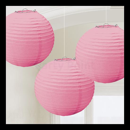 Pink színű lampion 24 cm 3 db/cs