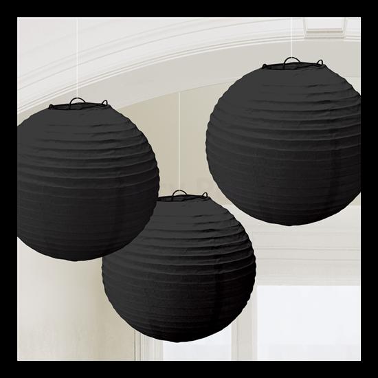 Fekete színű lampion 24 cm, 3 db/cs