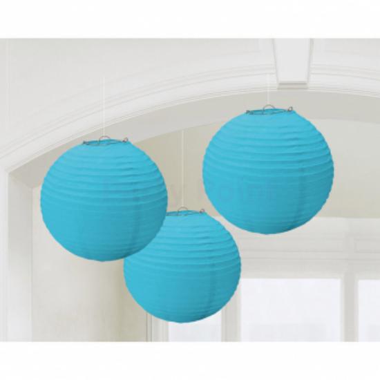 Karibikék színű lampion 20,4 cm 3 db/cs