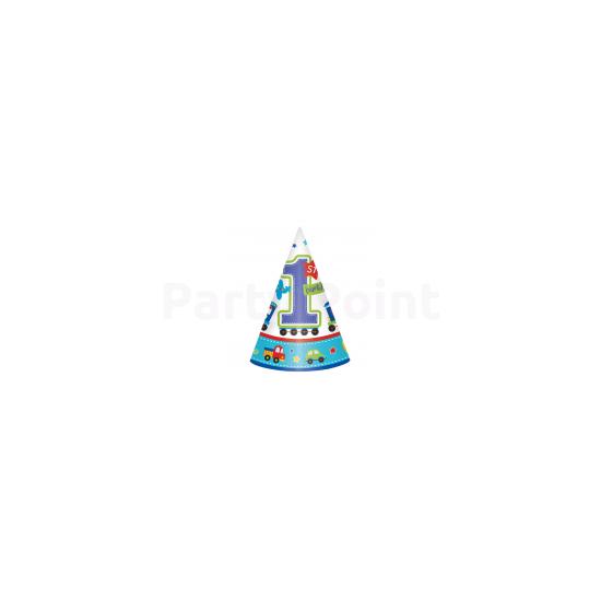 1st Birthday Boy - Járműves csákó első születésnapra 16cm 8db/cs