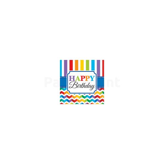 Happy Birthday csíkos szalvéta 16db 33x33 cm
