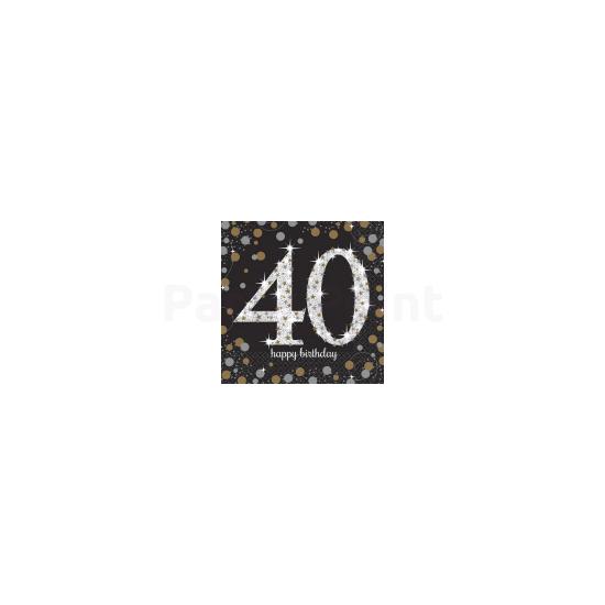 Happy Birthday 40. arany-ezüst  prizmás szalvéta 16db 33x33 cm