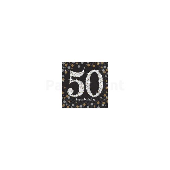 Happy Birthday 50. arany-ezüst  prizmás szalvéta 16db 33x33 cm