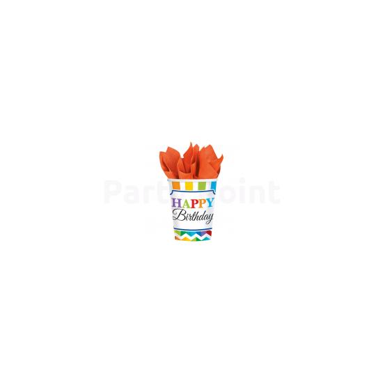 Happy Birthday csíkos pohár 8db 266 ml
