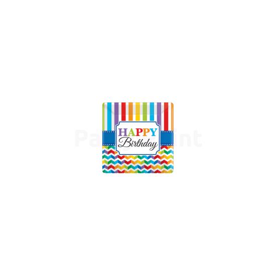 Happy Birthday csíkos tányér 8db 25,4 cm