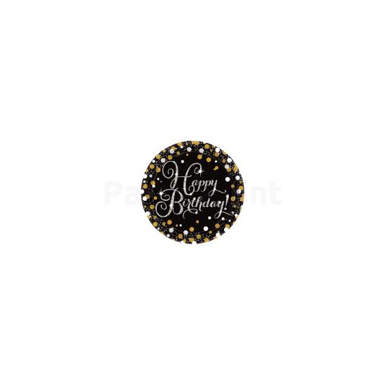 Happy Birthday arany-ezüst prizmás tányér 23 cm 8db/csomag