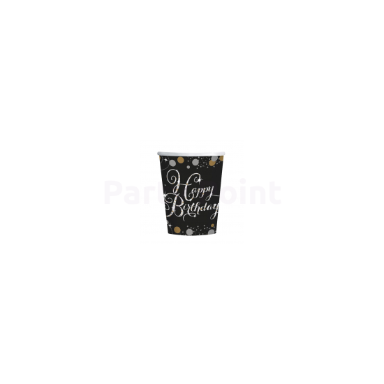 Happy Birthday arany-ezüst  prizmás pohár 266 ml 8db/csomag
