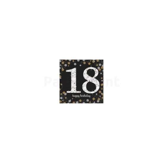 Happy Birthday 18. arany-ezüst prizmás szalvéta 33x33 cm 16db/csomag