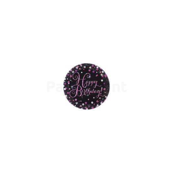 Happy Birthday pink prizmás tányér 23 cm 8db/csomag
