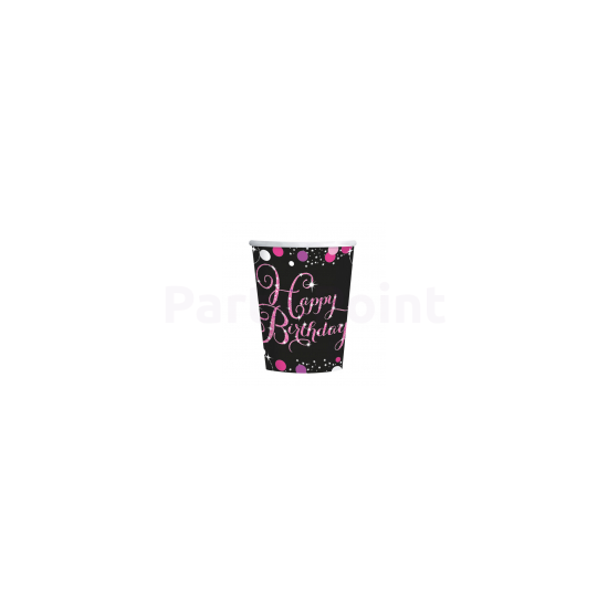 Happy Birthday pink prizmás pohár 266 ml 8db/csomag