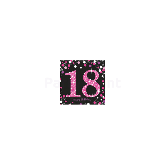 Happy Birthday 18. pink prizmás szalvéta 16db/csomag 33x33 cm