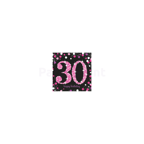 Happy Birthday 30. pink prizmás szalvéta 16db/csomag 33x33 cm