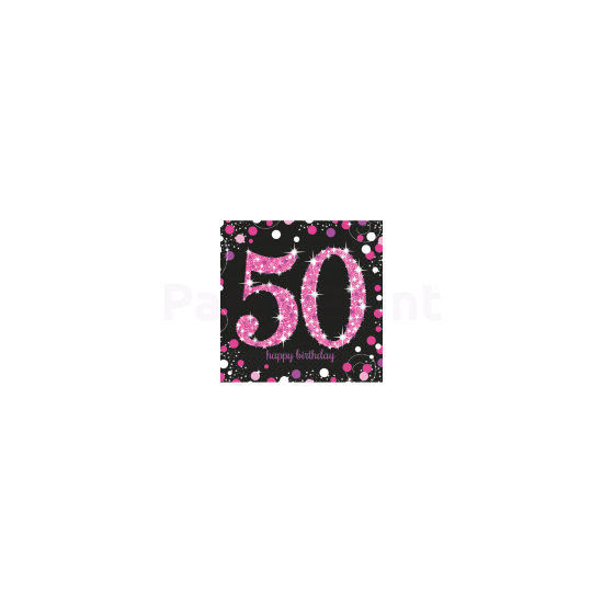 Happy Birthday 50. pink prizmás szalvéta 16db/csomag 33x33 cm