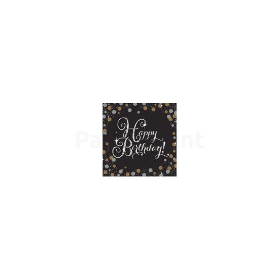 Happy Birthday arany-ezüst prizmás szalvéta 16db/csomag 33x33cm