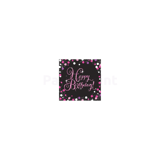 Happy Birthday pink prizmás szalvéta 16db/csomag 33x33cm