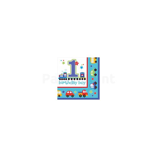 1st Birthday Boy - Járműves szalvéta első születésnapra 16db/csomag 33x33cm