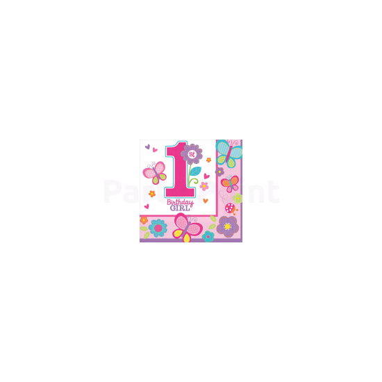 1st Birthday Girl - Pillangós- virágos szalvéta első születésnapra 16db/csomag 33x33 cm