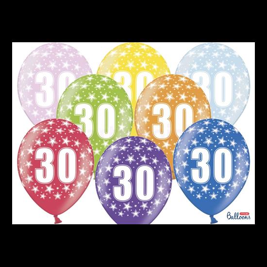 30 cm-es 30 szülinapra metál mix gumi lufi 50 db/cs