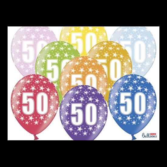 30 cm-es 50 szülinapra metál mix gumi lufi 50 db/cs