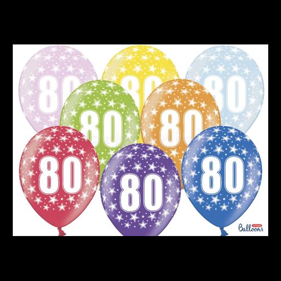30 cm-es 80 szülinapra metál mix gumi lufi 50 db/cs