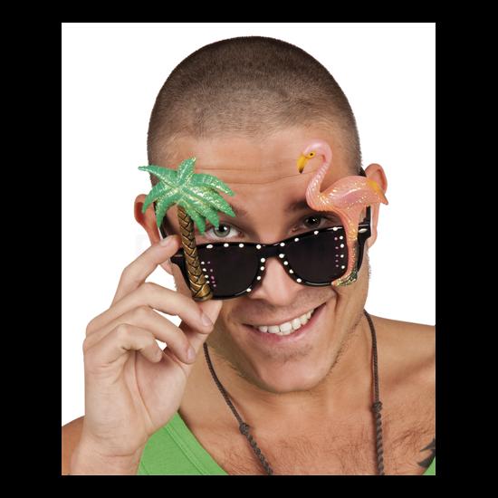 Hawaii szemüveg pálmafával és flamingóval