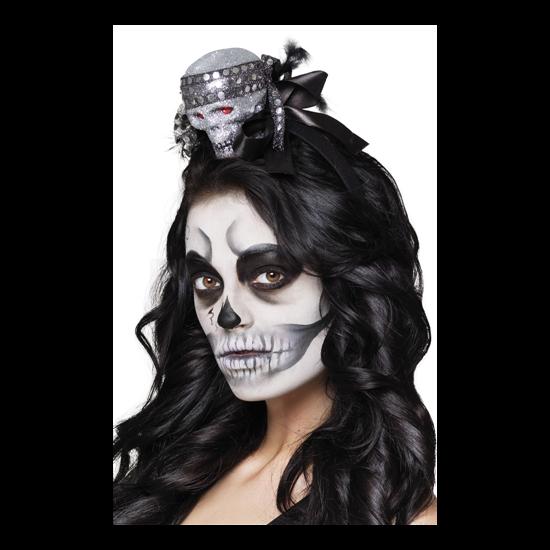Fekete glitteres tiara koponyával