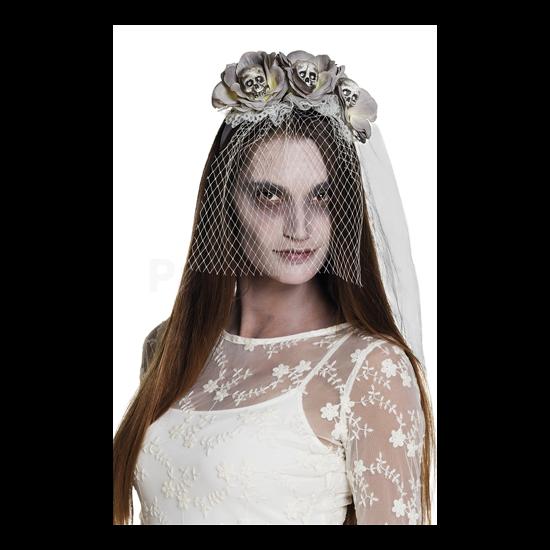 Szürke-fehér tiara koponyákkal, fátyollal