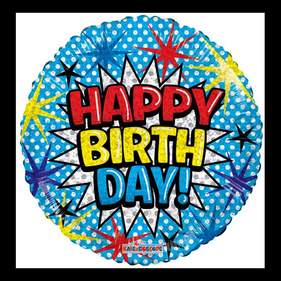 45 cm-es hologramos Happy Birthday! fólia lufi