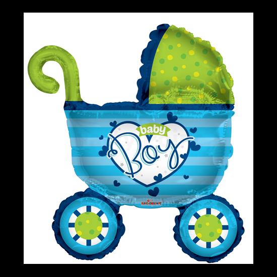 kék Baby Boy babakocsi fólia lufi