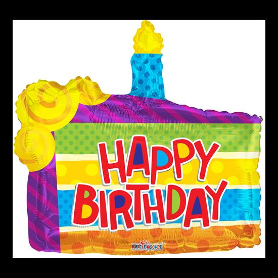 45 cm-es Happy Birthday tortaszelet alakú fólia lufi