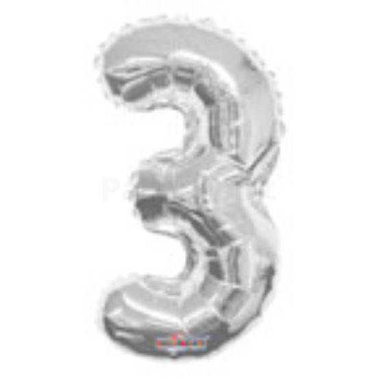 35cm-es ezüst szám fólia lufi 3