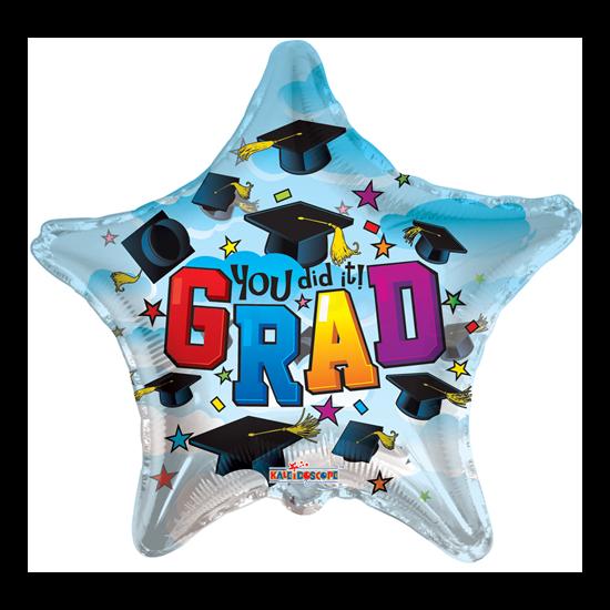 23 cm-es kalapos Grad csillag fólia lufi