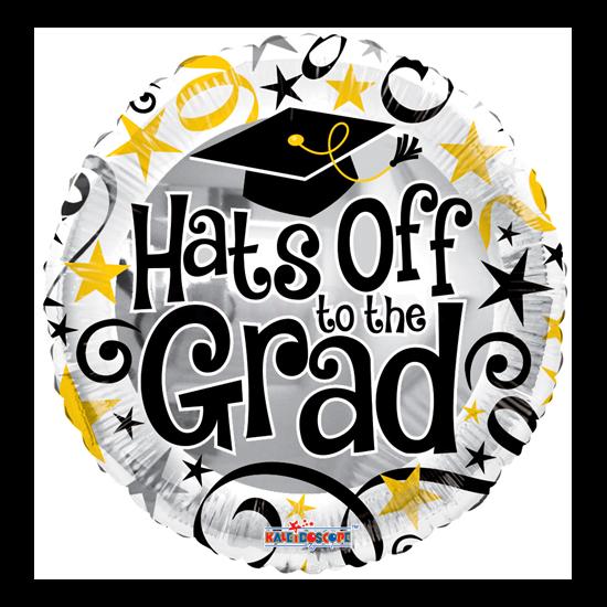 45 cm-es Hats off to the Grad szürke fólia lufi